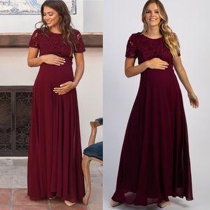 Pinkblush Burgundy Crochet Maternity Evening Gown